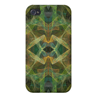 Green Fractal 4  Cases For iPhone 4