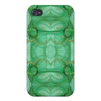 Green Fractal 4  iPhone 4 Cases