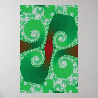 Green Fractal Art Poster