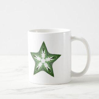 Green Fractal Art Star Design on a White Mug