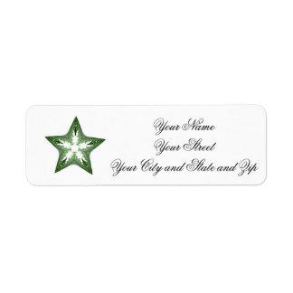 Green Fractal Art Star Label Return Address Label