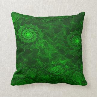 green fractal art throw pillows