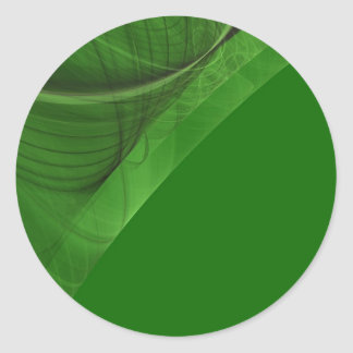 Green Fractal BackgroundRound Sticker