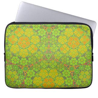 Green Fractal Circles Laptop Sleeve