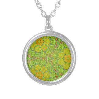 Green Fractal Circles Necklaces