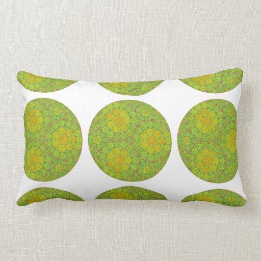 Green Fractal Circles Throw Pillows