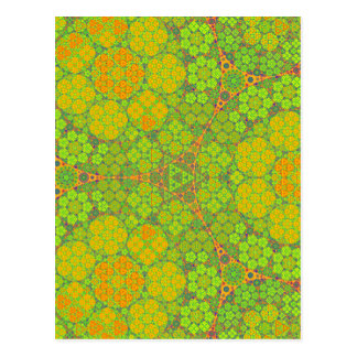 Green Fractal Circles Postcards