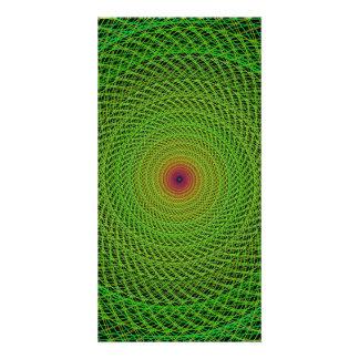 Green fractal customized photo card