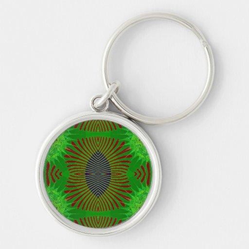 green fractal design key chain
