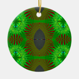 green fractal design Double-Sided ceramic round christmas ornament