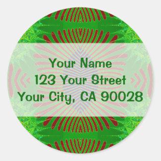 green fractal design classic round sticker