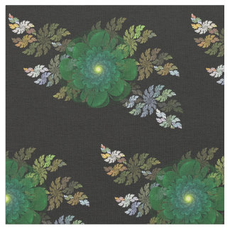 Green Fractal Flower Fabric