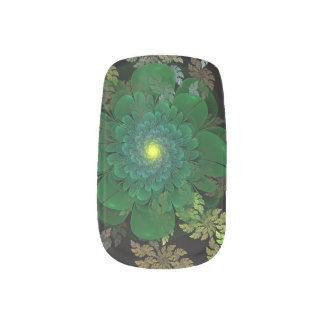 Green Fractal Flower Nail Art