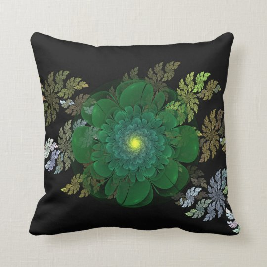 Green Fractal Flower Pillow