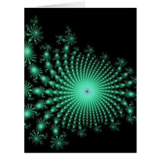 Green Fractal Islands on Black - abstract art Big Greeting Card