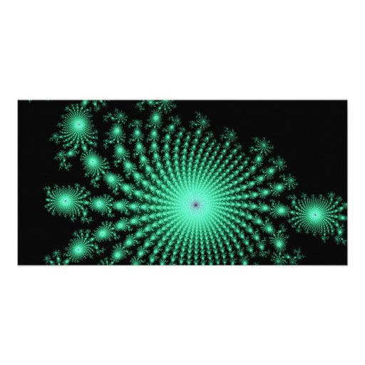 Green Fractal Islands on Black - abstract art Photo Greeting Card