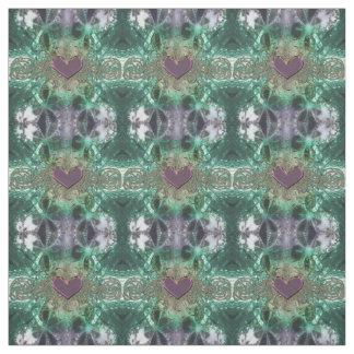 Green Fractal Lace w/ Purple Heart Pattern Fabric