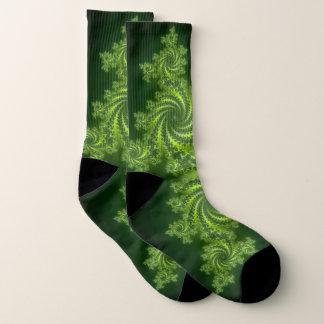 green fractal pattern socks