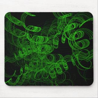 Green Fractal Smoke Mouse Pads