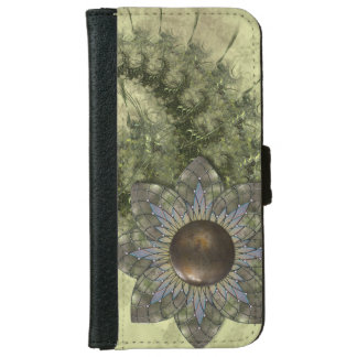 Green Fractals and Metal Flower iPhone 6 Wallet Case