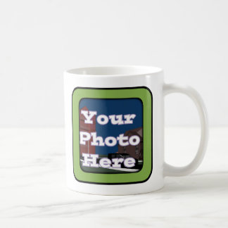 green frame coffee mug