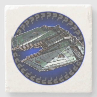Green Freighter Marble Coaster