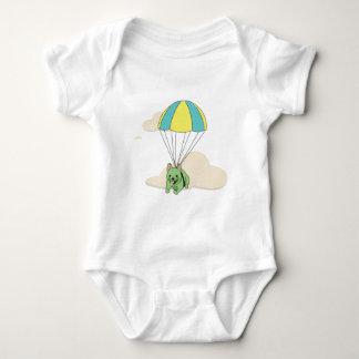 Green French Bulldog Umbrella Fun Onsie Baby Bodysuit