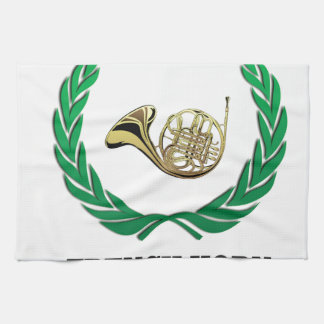green french horn kitchen towel