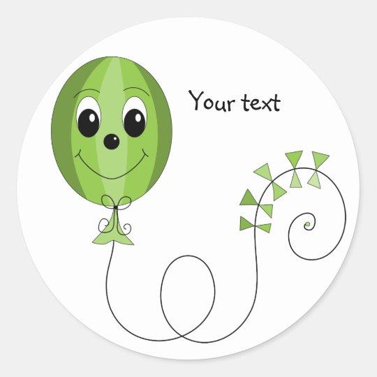 Green Friendly Balloon Classic Round Sticker