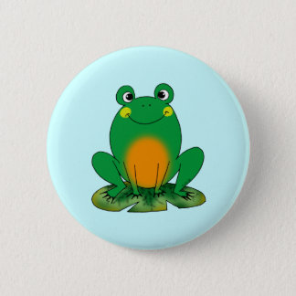 Green frog 2 inch round button