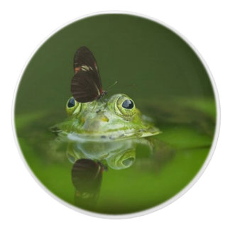GREEN FROG AND BUTTERFLY CERAMIC KNOB