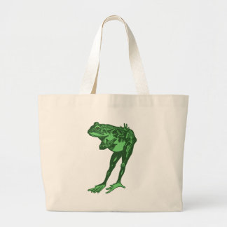 Green Frog Bowing Large Tote Bag