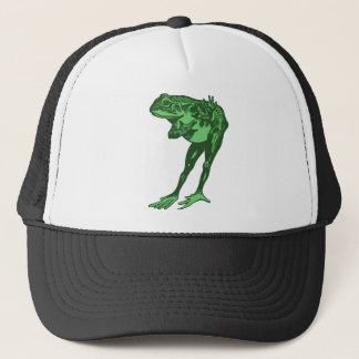 Green Frog Bowing Trucker Hat