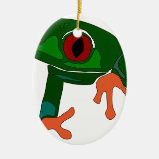 Green Frog Cartoon Ceramic Ornament