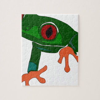 Green Frog Cartoon Jigsaw Puzzle