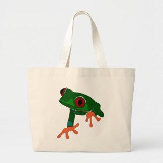 Green Frog Cartoon Large Tote Bag