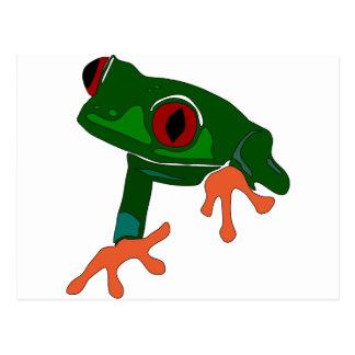 Green Frog Cartoon Postcard