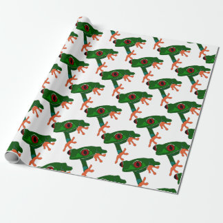 Green Frog Cartoon Wrapping Paper