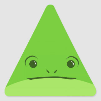 Green Frog Cute Animal Face Design Triangle Stickers