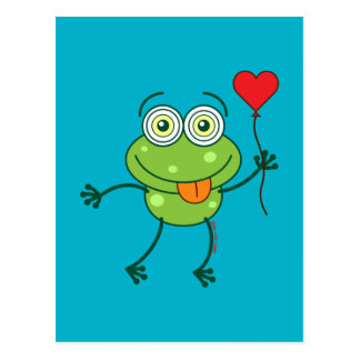 Green frog falling madly in love postcard