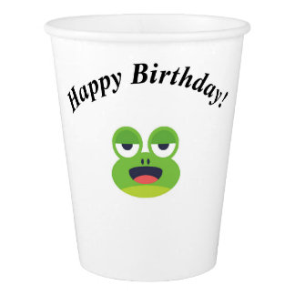 Green Frog Happy Birthday Paper Cup