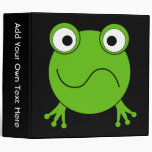 Green Frog. Looking confused. 3 Ring Binder