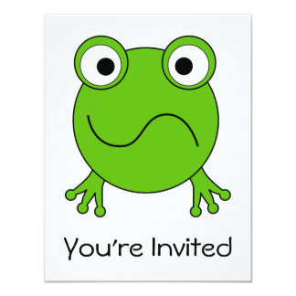 """Green Frog. Looking confused. 4.25"""" X 5.5"""" Invitation Card"""
