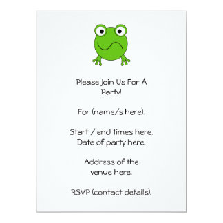 "Green Frog. Looking confused. 6.5"" X 8.75"" Invitation Card"