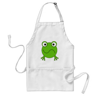 Green Frog. Looking confused. Apron