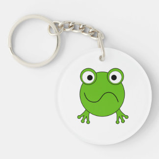 Green Frog. Looking confused. Double-Sided Round Acrylic Keychain