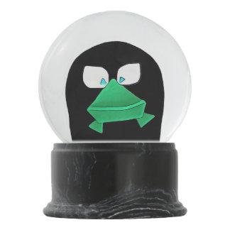 Green Frog on Black Snow Globe