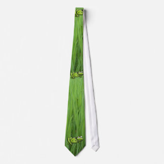 Green Frog on grass Cartoon Art Tie
