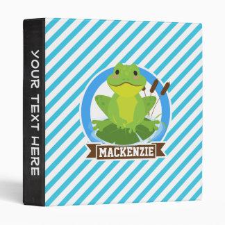 Green Frog on Lilypad; Blue & White Stripes Vinyl Binders