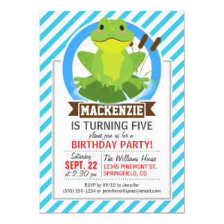 Green Frog on Lilypad; Blue & White Stripes Custom Announcement Card
